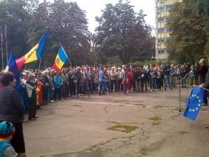 În fața protestatarilor din Ungheni vorbește Constantin Cheianu